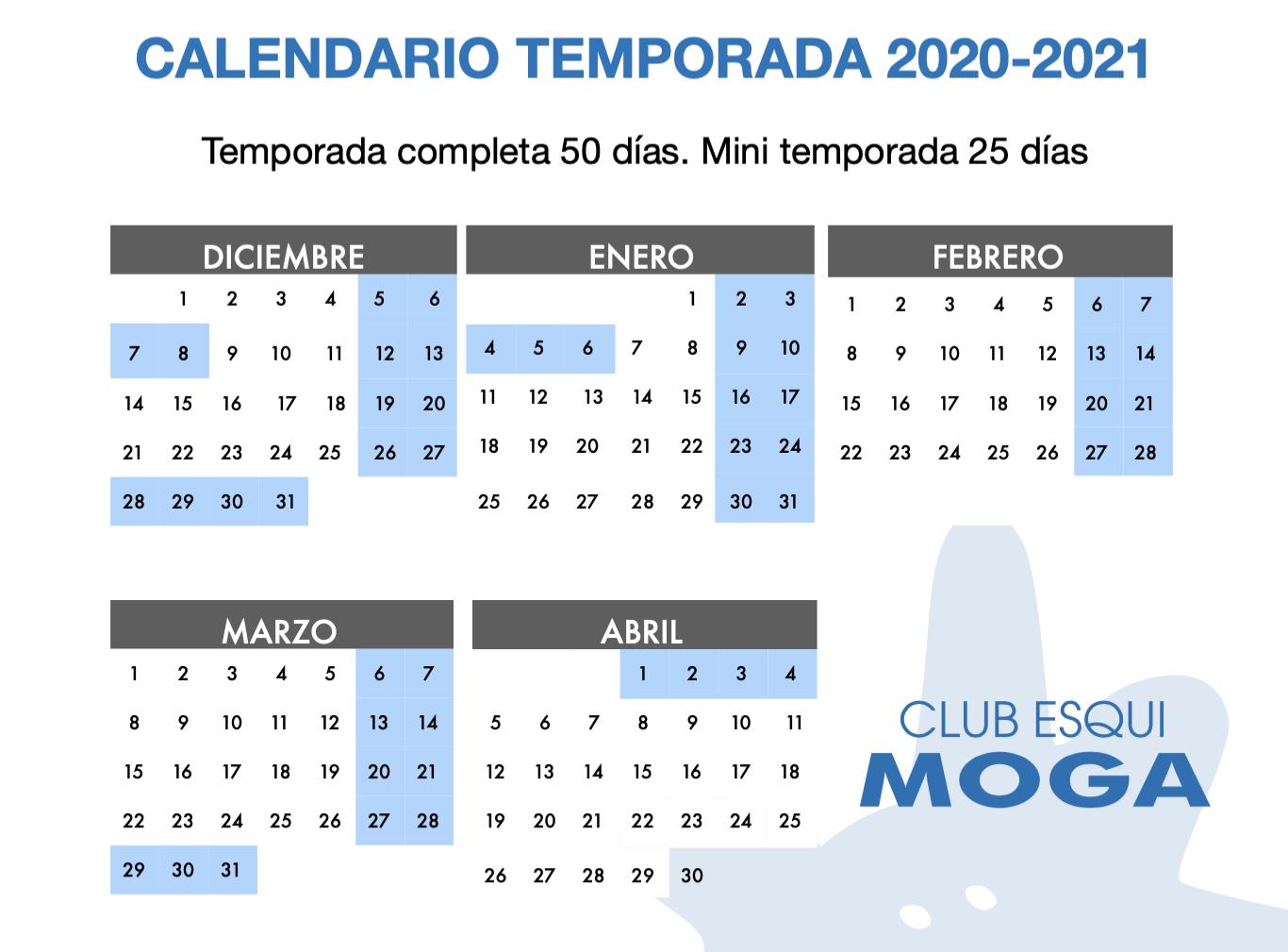 Calendario club esquí Moga